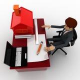 homem 3d que faz o plano home no portátil com modelo pequeno da casa no conceito do talbe Foto de Stock