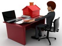 homem 3d que faz o plano home no portátil com modelo pequeno da casa no conceito do talbe Fotografia de Stock