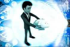 homem 3d que guarda a ilustração disponivel do piggybank Fotografia de Stock Royalty Free