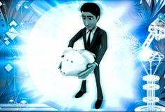 homem 3d que guarda a ilustração disponivel do piggybank Foto de Stock Royalty Free