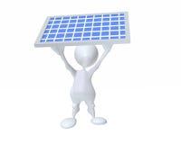 homem 3d que guarda um painel solar para a conservação do poder limpo Fotos de Stock Royalty Free