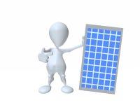 homem 3d que guarda um painel solar para a conservação do poder limpo Foto de Stock Royalty Free
