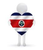 homem 3d que guarda uma bandeira de Costa Rica Foto de Stock Royalty Free