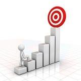 homem 3d que intensifica a seu objetivo bem sucedido sobre o gráfico de negócio sobre o branco Imagens de Stock