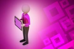 homem 3d que mostra o tablet pc Foto de Stock Royalty Free