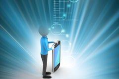 homem 3d que mostra o tablet pc Imagem de Stock Royalty Free