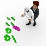 homem 3d que procura pela engrenagem direita do conceito de muitas engrenagens Imagem de Stock Royalty Free