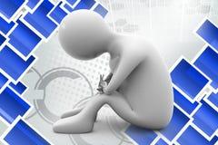 homem 3d que senta a ilustração triste Imagem de Stock Royalty Free