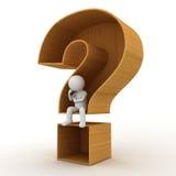 homem 3d que senta-se no conceito de madeira do ponto de interrogação no branco Fotografia de Stock Royalty Free