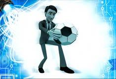 homem 3d sobre a bola do pontapé do ot da ilustração do futebol Fotografia de Stock Royalty Free