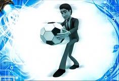homem 3d sobre a bola do pontapé do ot da ilustração do futebol Fotos de Stock Royalty Free