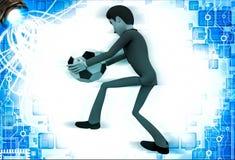homem 3d sobre a bola do pontapé do ot da ilustração do futebol Foto de Stock Royalty Free