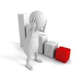 Homem 3d triste com gráfico da carta de barra da crise Risco comercial Fotos de Stock