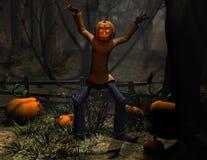 Homem da abóbora do caráter de Halloween assustador Fotos de Stock