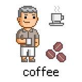 Homem da arte do pixel e uma caneca de café Imagens de Stock