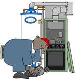 Homem da ATAC que instala um motor da fornalha ilustração royalty free