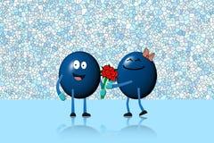 Homem da bola do caráter que dá o ramalhete das flores à mulher do caráter Fotografia de Stock Royalty Free