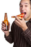 Homem da cerveja e da pizza Fotografia de Stock Royalty Free