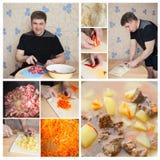 Homem da colagem que cozinha na cozinha Foto de Stock Royalty Free