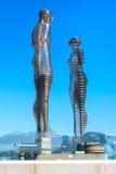 Homem da escultura do metal de Batumi, de Adjara, de Geórgia e mulher ou Ali e Nino Fotos de Stock Royalty Free