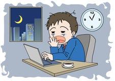 Homem da imagem das horas extras - sonolento ilustração do vetor