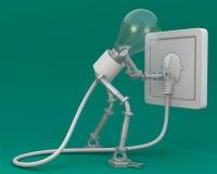 Homem da lâmpada, ideia, pensando Imagem de Stock Royalty Free