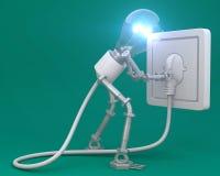Homem da lâmpada, ideia, pensando Imagem de Stock