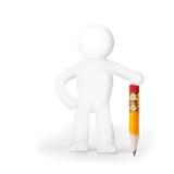 Homem da massa de modelar com lápis Foto de Stock Royalty Free