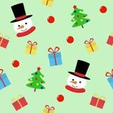 Homem da neve com teste padrão sem emenda do presente Fundo bonito do personagem de banda desenhada dos feriados do Natal ilustração do vetor