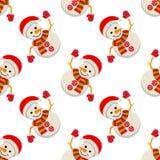 Homem da neve no teste padrão sem emenda do tampão de Papai Noel Fotografia de Stock