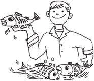 Homem da pesca que prende um peixe Imagem de Stock