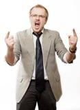 Homem da raiva em gritos do terno Imagens de Stock Royalty Free