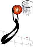 Homem da sombra que joga o basquetebol Fotos de Stock Royalty Free