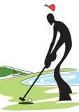 Homem da sombra que joga o golfe ilustração do vetor
