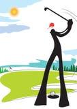 Homem da sombra que joga o golfe Imagens de Stock