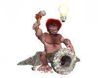 Homem das cavernas com a ideia de criar a roda Fotos de Stock