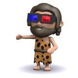 homem das cavernas 3d que veste os vidros 3d Fotos de Stock Royalty Free