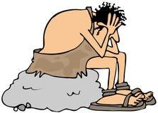 Homem das cavernas deprimido Fotografia de Stock