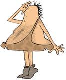 Homem das cavernas na pesquisa da ponta do pé ilustração stock