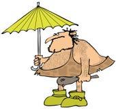 Homem das cavernas que guarda um guarda-chuva Foto de Stock Royalty Free