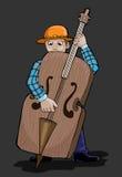 Homem das séries da música que joga o baixo Contra Imagens de Stock