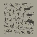 Homem de caverna e pintura da rocha dos animais ilustração royalty free