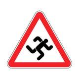 Homem de corrida da aten??o Ca?ador vermelho de advert?ncia do sinal de estrada Corredor do cuidado ilustração stock