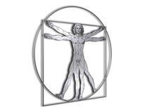 Homem de DaVinci Vitruvian no metal brilhante ilustração stock