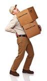Homem de entrega com dor traseira fotos de stock royalty free
