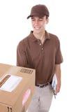Homem de entrega com pacote foto de stock