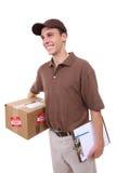 Homem de entrega com pacote imagens de stock royalty free