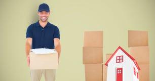 Homem de entrega com pacotes e casa 3d Fotografia de Stock