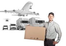 Homem de entrega e fundo 3d Fotografia de Stock