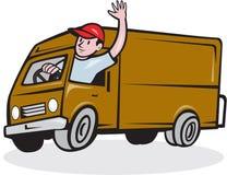 Homem de entrega que acena conduzindo Van Cartoon Foto de Stock Royalty Free
